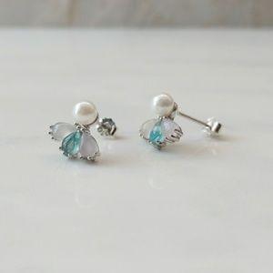 Angel Synthetic Opal & Pearl Earrings | 925 Silver